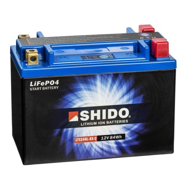 Shido Lithium Motorradbatterie LiFePO4 LTX24HL-BS Q 12V