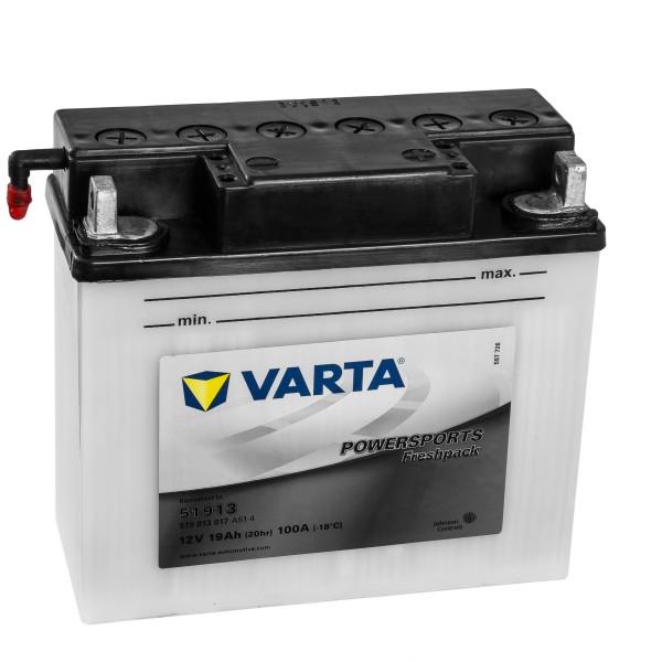 VARTA Powersports Motorradbatterie 51913 51913 12V 19Ah trocken