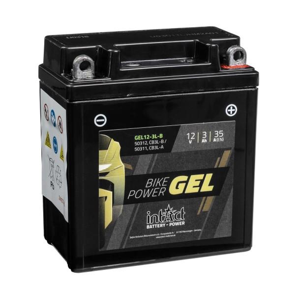intAct Bike-Power Motorradbatterie GEL 12V 3Ah CB3L-B 50312