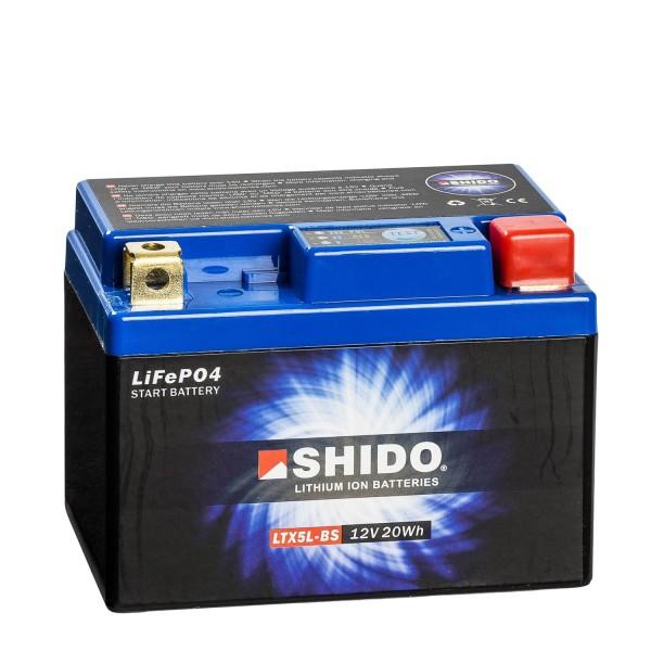 Shido Lithium Motorradbatterie LiFePO4 LTX5L-BS 12V