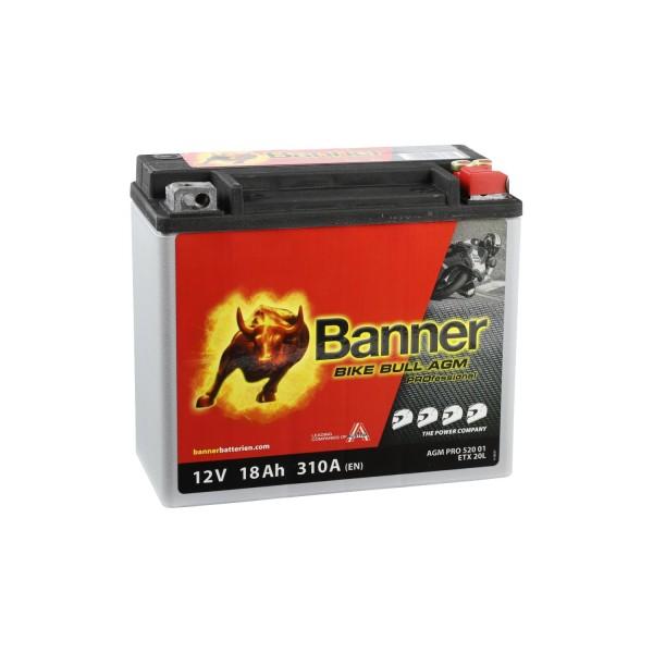 Banner AGM PRO Motorradbatterie 52001 ETX20L 12V 18Ah