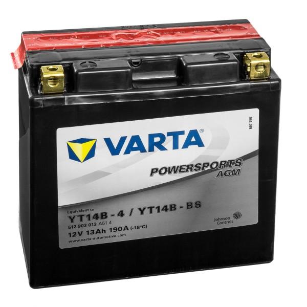 VARTA Powersports AGM Motorradbatterie YT14B-4 YT14B-BS 12V 12Ah