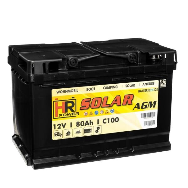 HR Solar AGM 12V 80Ah Versorgungsbatterie